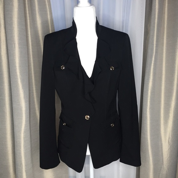 White House Black Market Jackets & Blazers - WHBM Black & Gold V Neck Ruffle Blazer